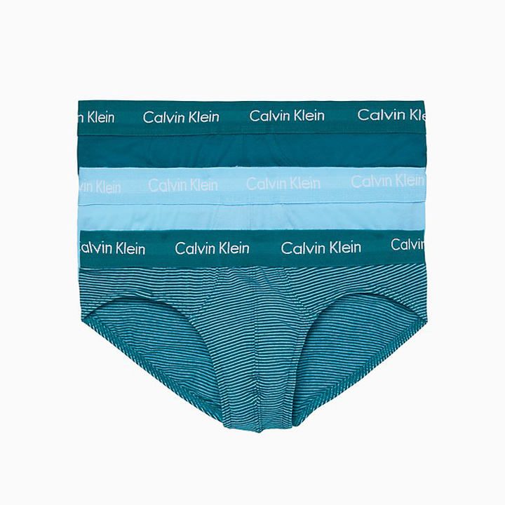 Set 3 Calvin Klein Cotton Stretch Hip Brief - Teal Diamond/ Alaskan Blue/ Teal Stripe, Size S