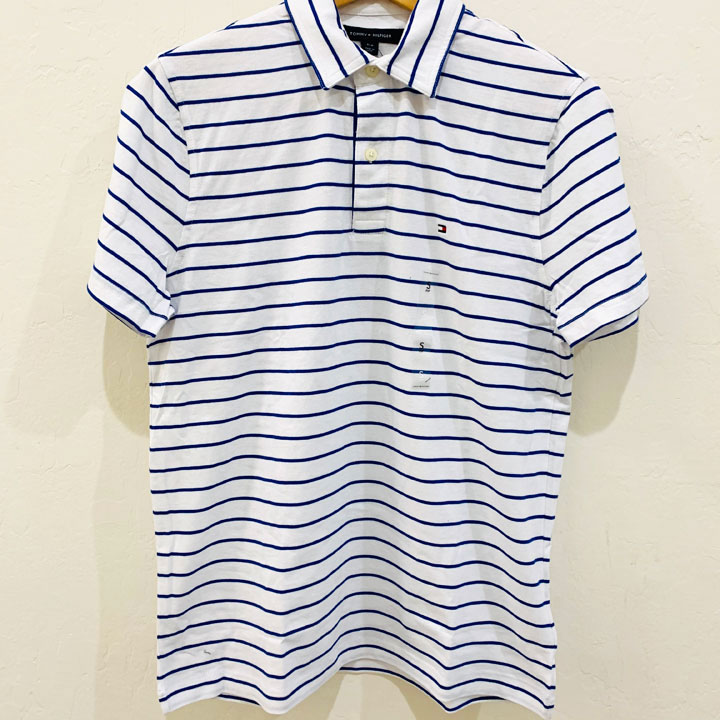Tommy Hilfiger Classic Fit Blue Striped Polo Shirt - White, Size M
