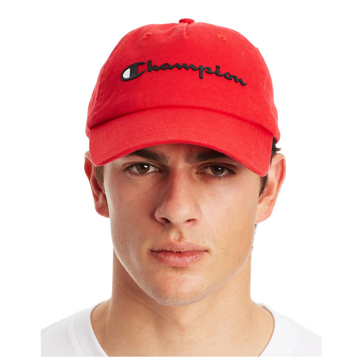 Champion Men's Ameritage Dad Script Logo Cap, Red