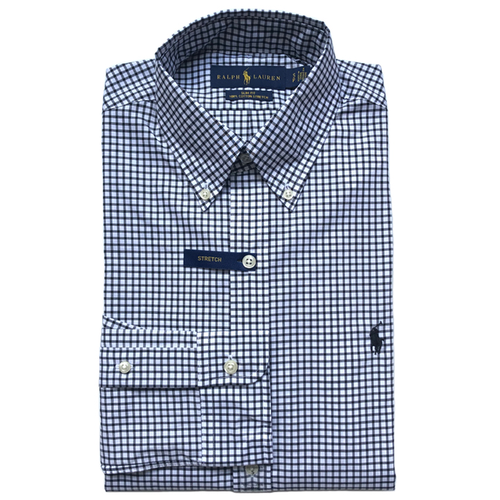 Polo Ralph Lauren Slim Fit Gingham Shirts - Black/ White, Size L