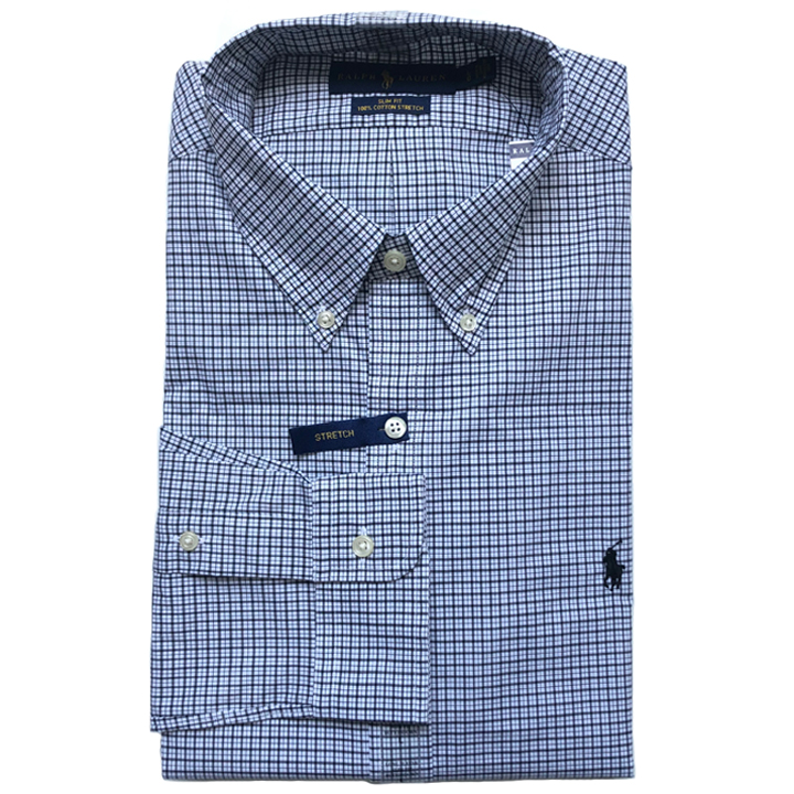 Polo Ralph Lauren Slim Fit Small Plaid Stretch Shirts - Black/ White, Size M