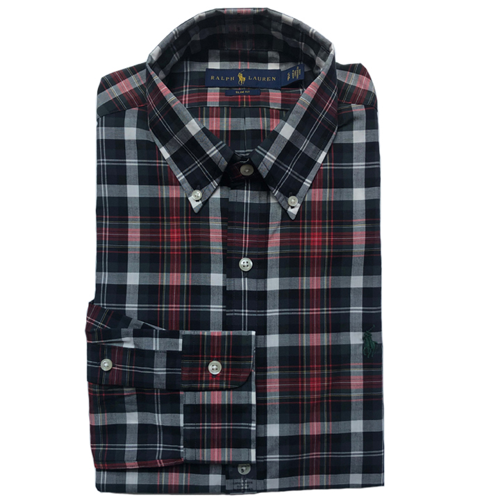 Polo Ralph Lauren Slim Fit Plaid Twill Shirts - Black/ Red Multi, Size S
