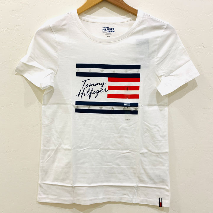 Tommy Hilfiger Essential Flag Logo T-Shirt -  White, Size XS