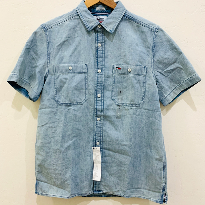 Tommy Hilfiger Custom Fit Short Sleeve Denim Shirt - Faded Denim, Size M