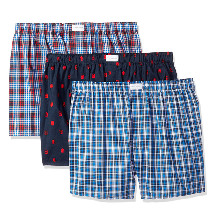 Set 3 Tommy Hilfiger Cotton Woven Boxers - Red Plaid/ Tommy Hilfiger Logo Print, Size M