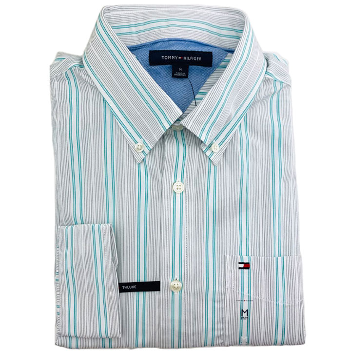 Tommy Hilfiger TH Luxe Cotton Striped Shirt - White/ Teal/ Black, Size M