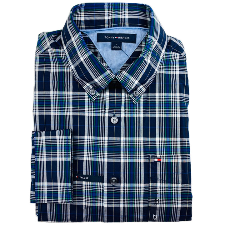 Tommy Hilfiger TH Luxe Cotton Plaid Shirt - Navy/ Grey/ Green Multi, Size M