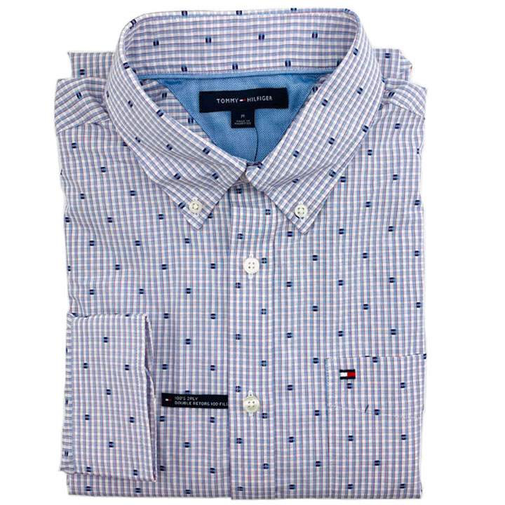 Tommy Hilfiger Essential Logo Cotton Shirt - White/ Red/ Sky Blue, Size M