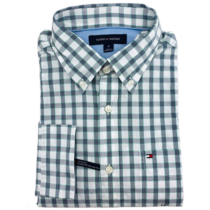 Tommy Hilfiger Gingham Cotton Shirt - White/ Grey, Size M
