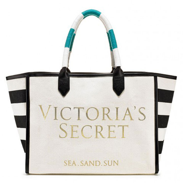 Túi Victoria's Secret Striped Sea Sand Sun Canvas Tote