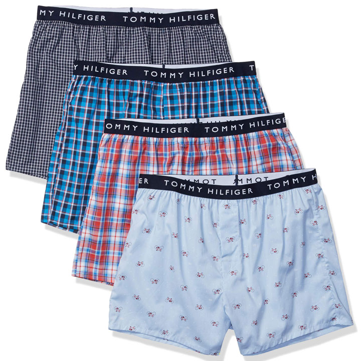 Set 4 Tommy Hilfiger Cotton Woven Boxers - Red/ Blue/ Black Multi, Size M