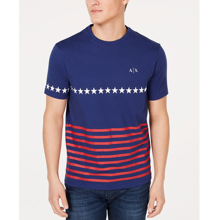 Armani Exchange American Flag Graphic Crew Neck T-Shirt - Navy, Size M