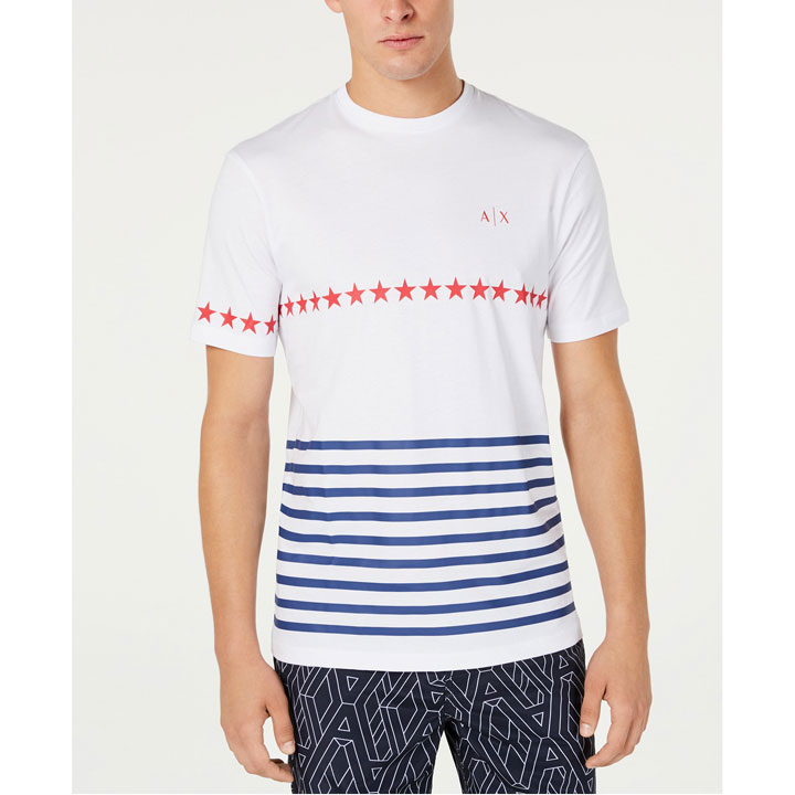 Armani Exchange American Flag Graphic Crew Neck T-Shirt - White, Size M