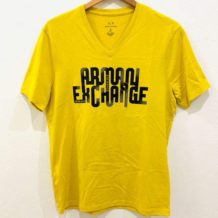 Armani Exchange Logo Graphic V-Neck T-Shirt - Yellow, Size S