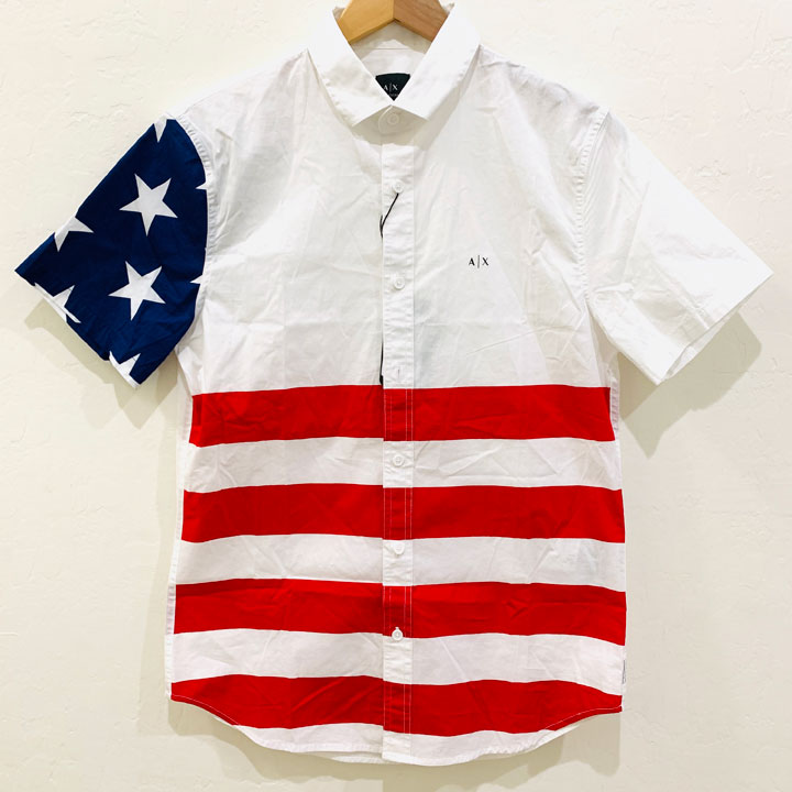 Armani Exchange American Flag Short Sleeve Shirt, Size M