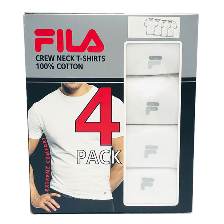 Set 4 áo Fila Crew Neck T-Shirts - White, Size L