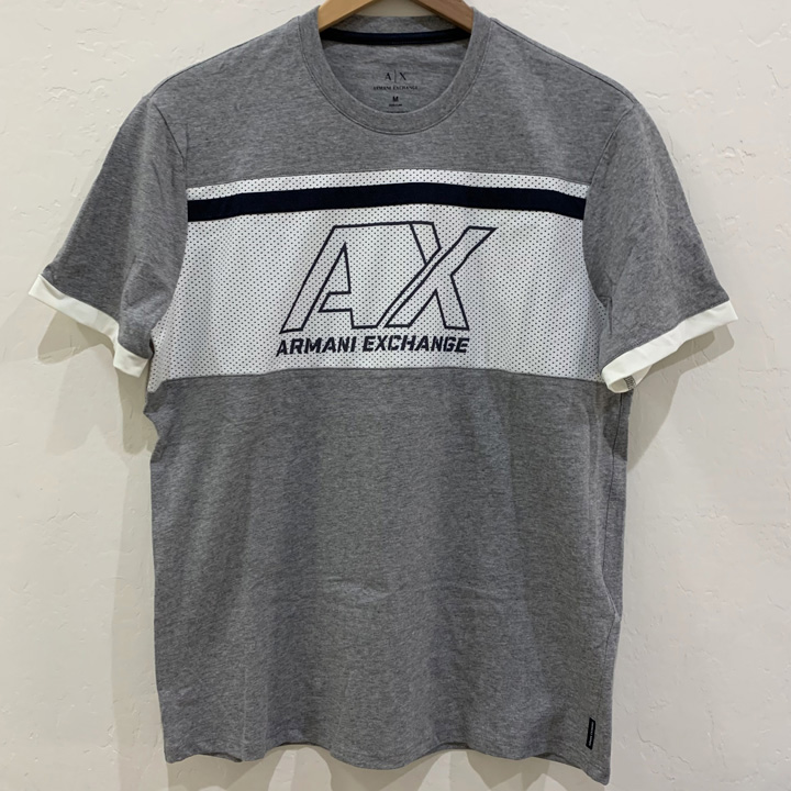 Armani Exchange T-Shirt with Contrasting Insert and Logo - Grey, Size M