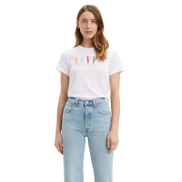 Levi's Perfect The Original Two Horse Brand Logo Tee Shirt - White, Size XS