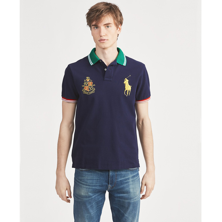 Polo Ralph Lauren Classic Fit Mesh Polo Shirt - Navy, Size M