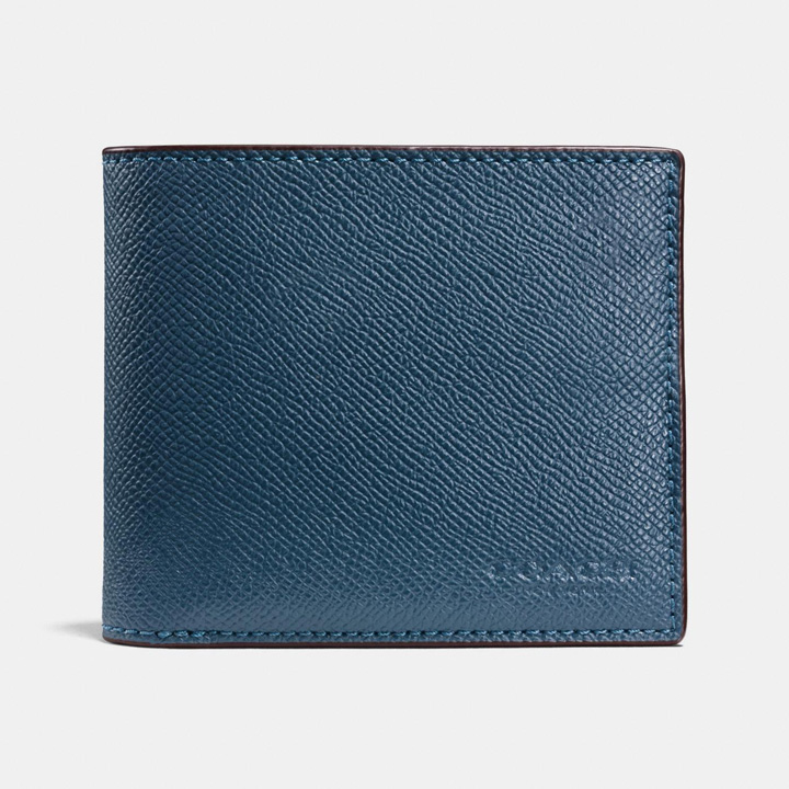 Ví Coach Compact Id - Crossgrain Leather, Dark Denim