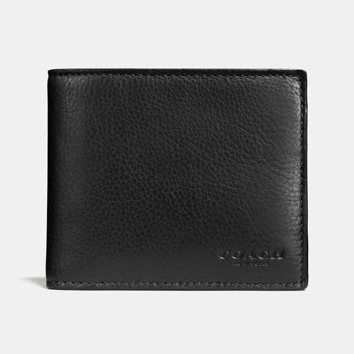 Ví Coach Compact Id - Sport Calf Leather, Black