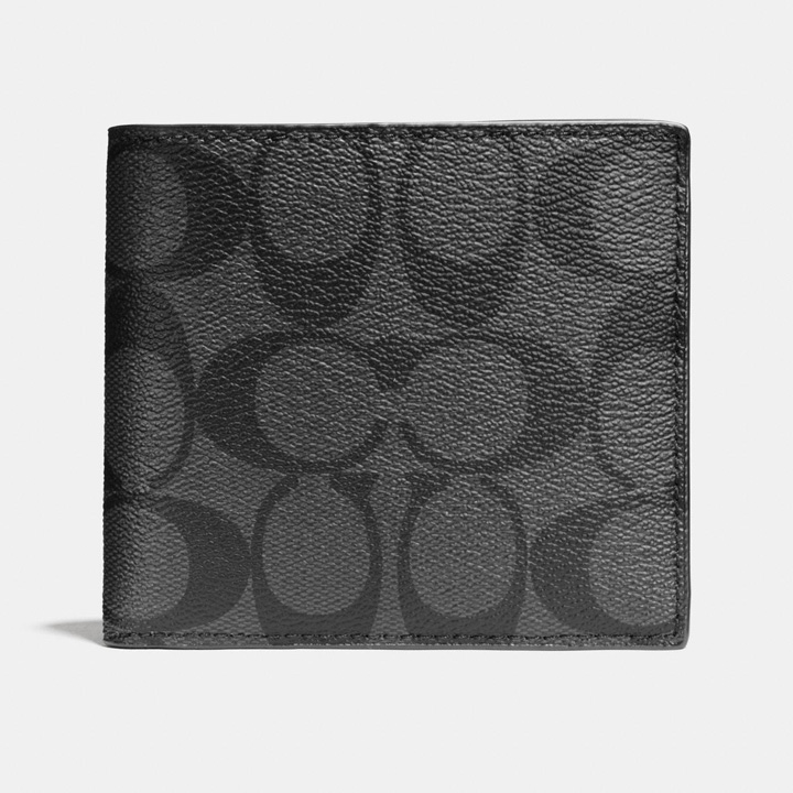 Ví Coach Double Billfold in Signature Canvas, Black/ Charcoal/ Black Antique Nickel