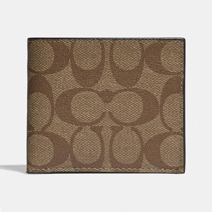 Ví Coach Id Billfold in Signature Canvas, Tan/ Black Antique Nickel