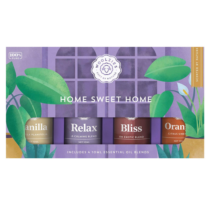 Tinh dầu thơm Woolzies Home Sweet Home Collection, 4 x 10ml