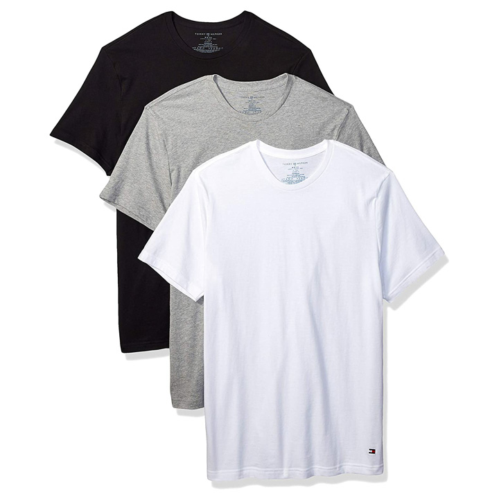 Set 3 áo Tommy Hilfiger Classic Crew Neck Tee - Grey Heather/ Black/ White, Size M