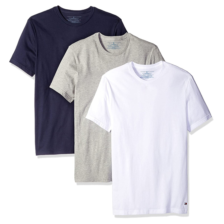 Set 3 áo Tommy Hilfiger Classic Crew Neck Tee - Grey Heather/ Dark Navy/ White, Size M