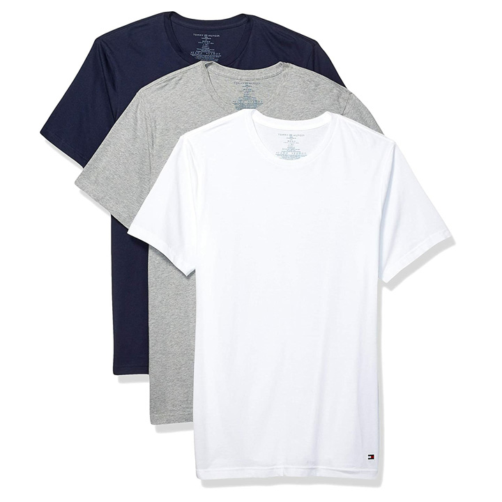 Set 3 áo Tommy Hilfiger Slim Crew Neck Tee - Grey Heather/ Navy/ White, Size M