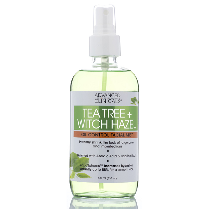 Xịt khoáng Advanced Clinicals Tea Tree + Witch Hazel, 237ml