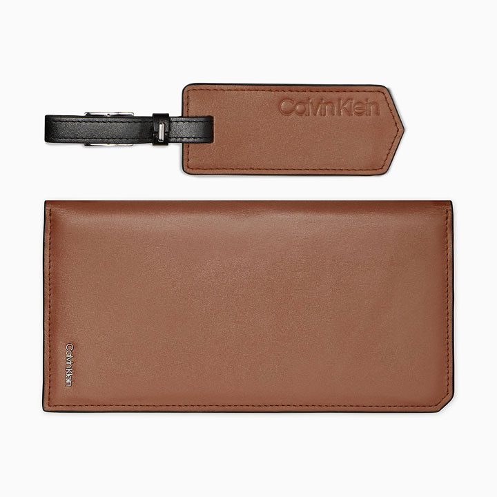 Ví Calvin Klein Calf Leather Long + Luggage Tag, Cognac