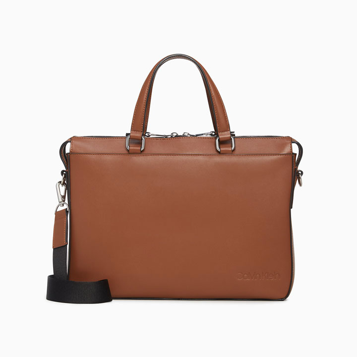 Túi Calvin Klein Refined Leather Slim Briefcase, Cognac