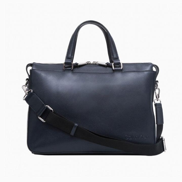 Túi Calvin Klein Refined Leather Slim Briefcase, Dark Navy