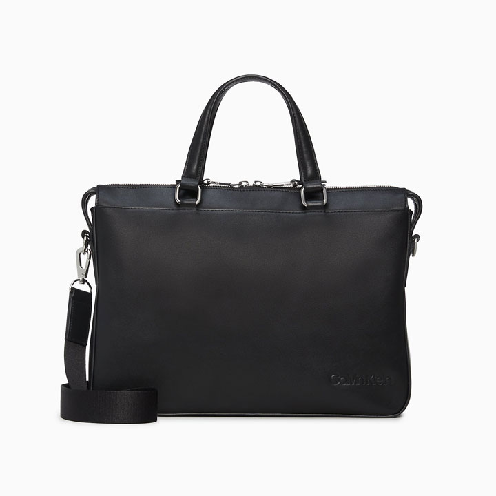 Túi Calvin Klein Refined Leather Slim Briefcase, Black