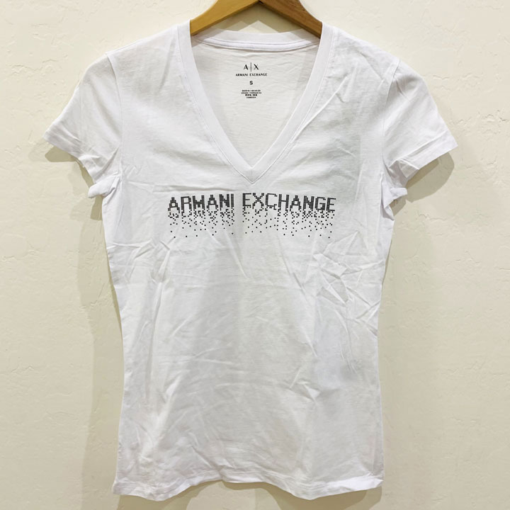 Áo Armani Exchange Graphic V-neck T-Shirt - Black/ White, Size XL