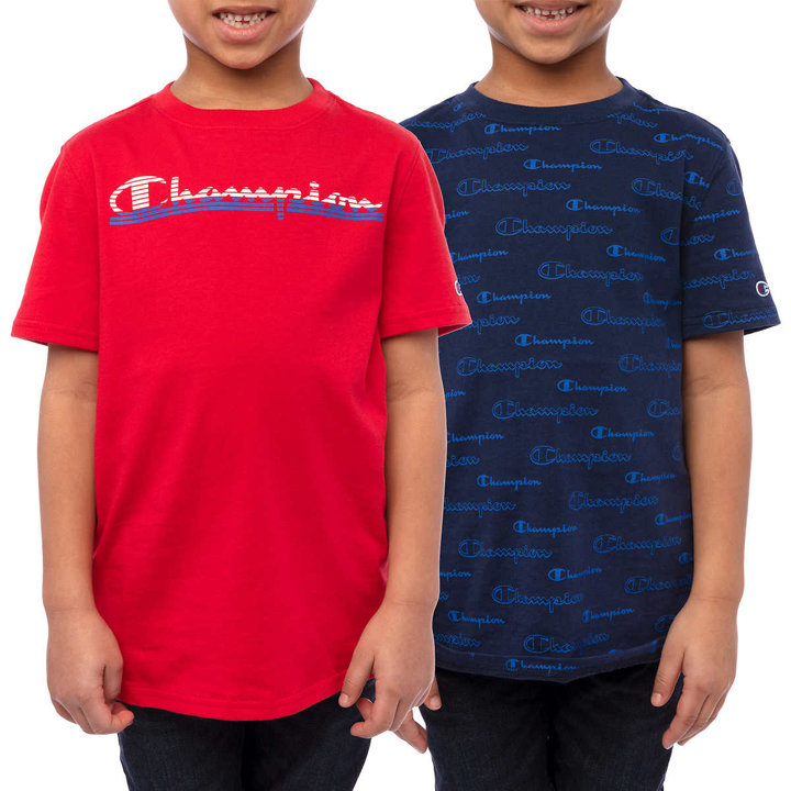 Set 2 áo Champion Youth Short Sleeve Tee - Blue/ Red, size M (10/12)