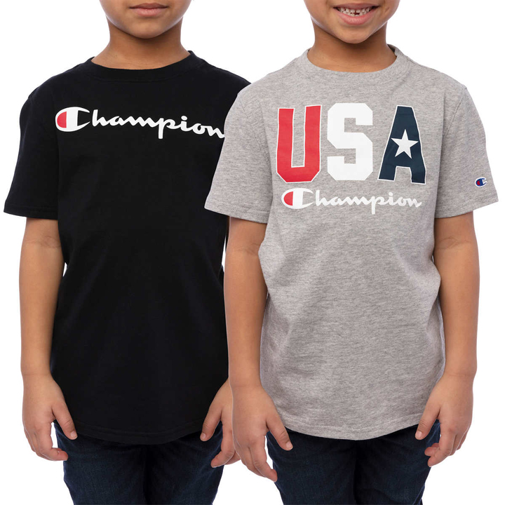 Set 2 áo Champion Youth Short Sleeve Tee - Black/ Grey, size XL (18/20)
