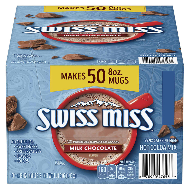 Bột cacao sữa Swiss Miss Hot Cocoa Mix, 50 gói