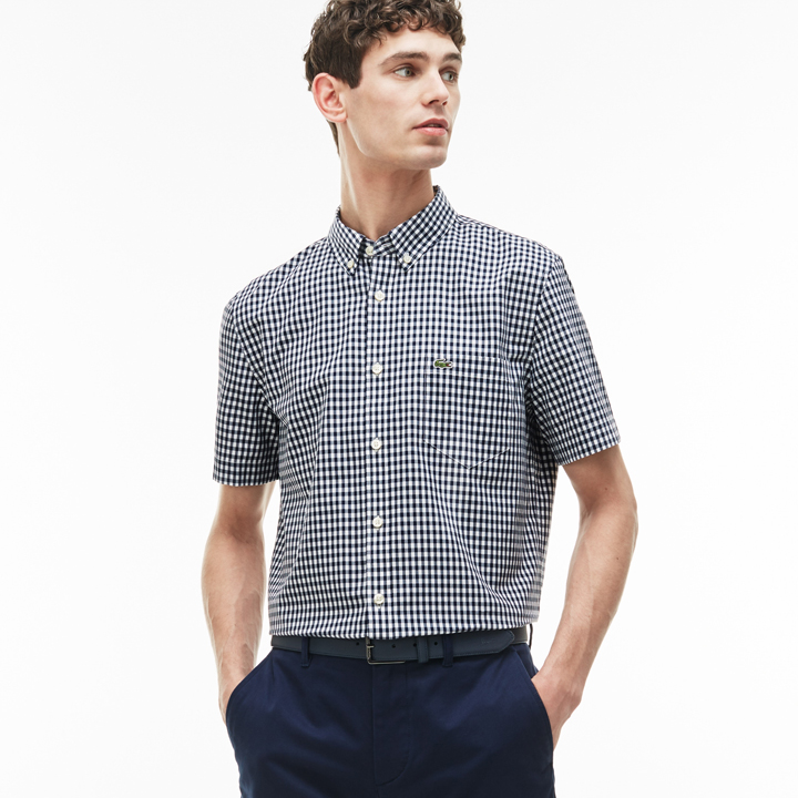 Áo Lacoste Regular Fit Gingham Poplin Shirt - Navy/ White, size 42/L