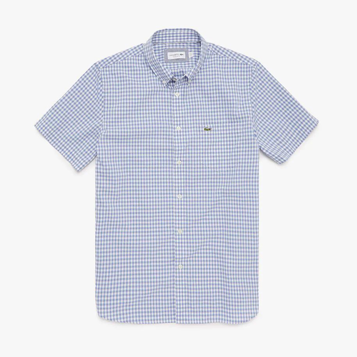 Áo Lacoste Regular Fit Gingham Poplin Shirt - Navy/ White Purple, size 38/S