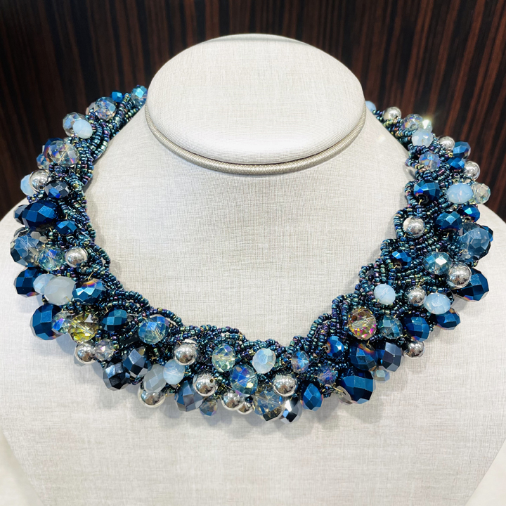 Vòng cổ Natasha Accessories Mixed Beaded Collar - Blue