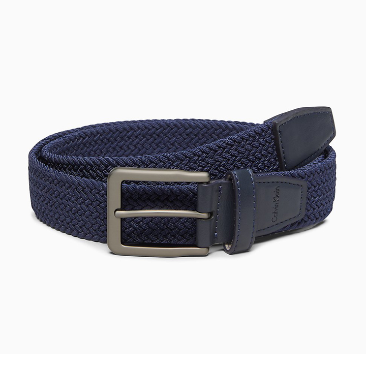Thắt lưng Calvin Klein Braided Stretch Buckle - Navy, size M (34-36)