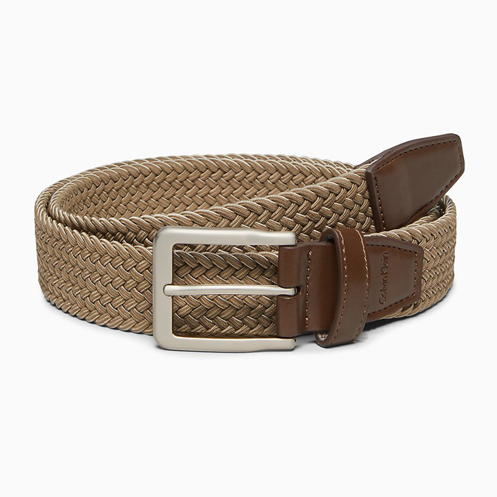 Thắt lưng Calvin Klein Braided Stretch Buckle - Tan, size S (30-32)