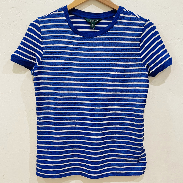 Áo Polo Ralph Lauren Striped Sequin Beaded T-Shirt - Blue/ White, Size XS