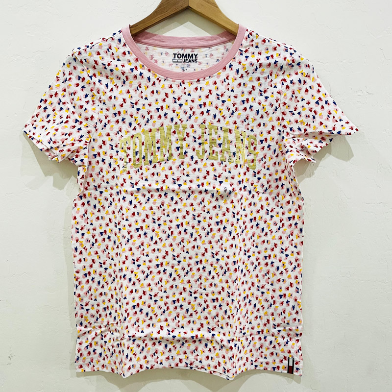 Áo Tommy Jeans Floral Printed T- shirt - White/ Pink Multi, Size XS
