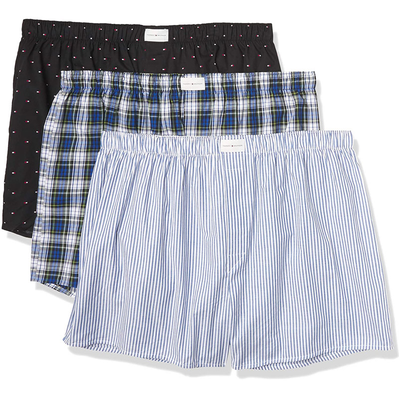 Set 3 Tommy Hilfiger Cotton Woven Boxers - Blue Cloud, Size L