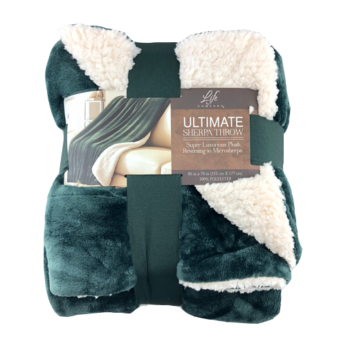 Chăn Life Comfort Ultimate Sherpa, Green