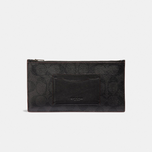 Coach Zip Phone Wallet In Signature Canvas, Black